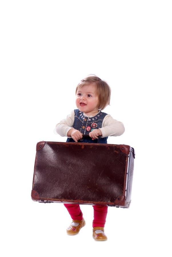 Baby met koffer royalty-vrije stock fotografie