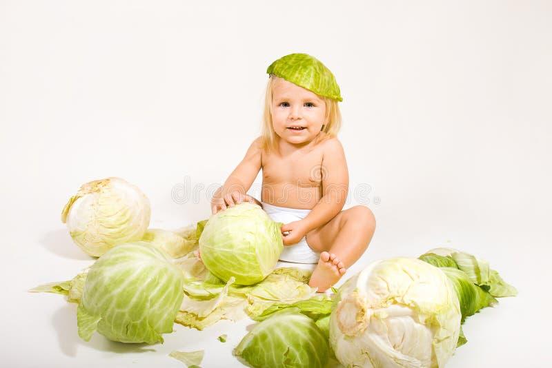 Baby met kool royalty-vrije stock foto