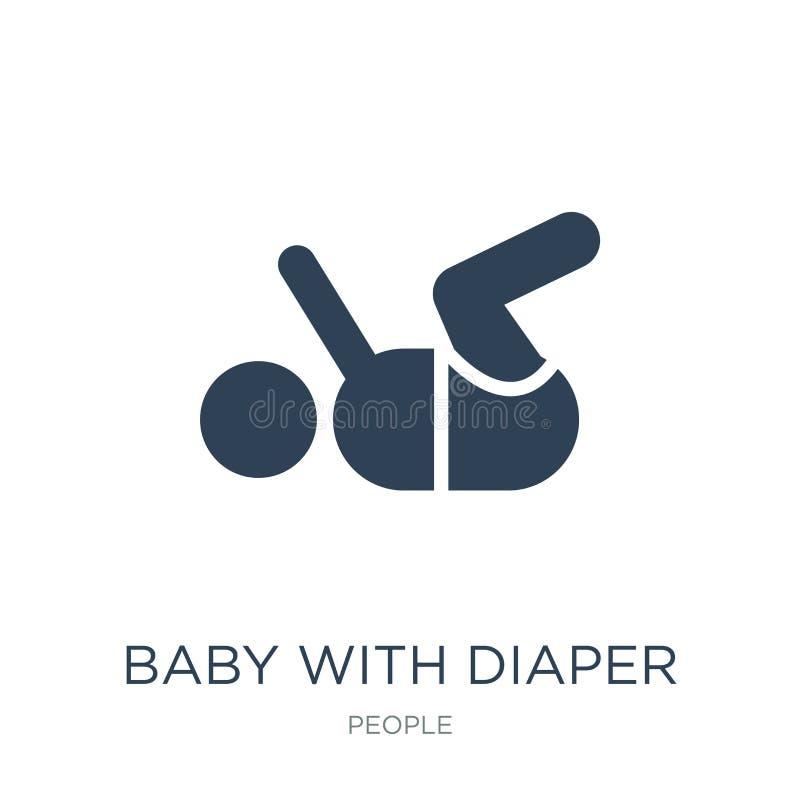 baby met luierpictogram in in ontwerpstijl baby met luierpictogram op witte achtergrond wordt geïsoleerd die baby met luier vecto vector illustratie