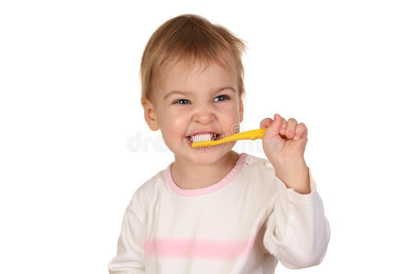 Baby met tandenborstel 2 stock afbeeldingen