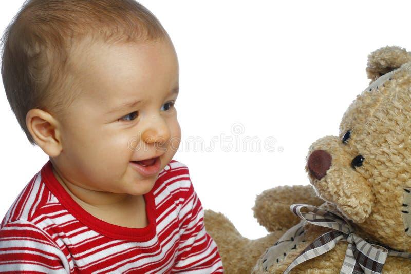 Baby met teddybeer royalty-vrije stock foto