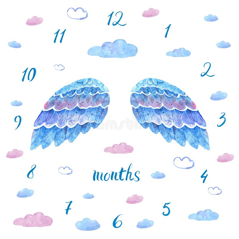 Baby milestone blanket with hand drawn blue watercolor wings stock illustration