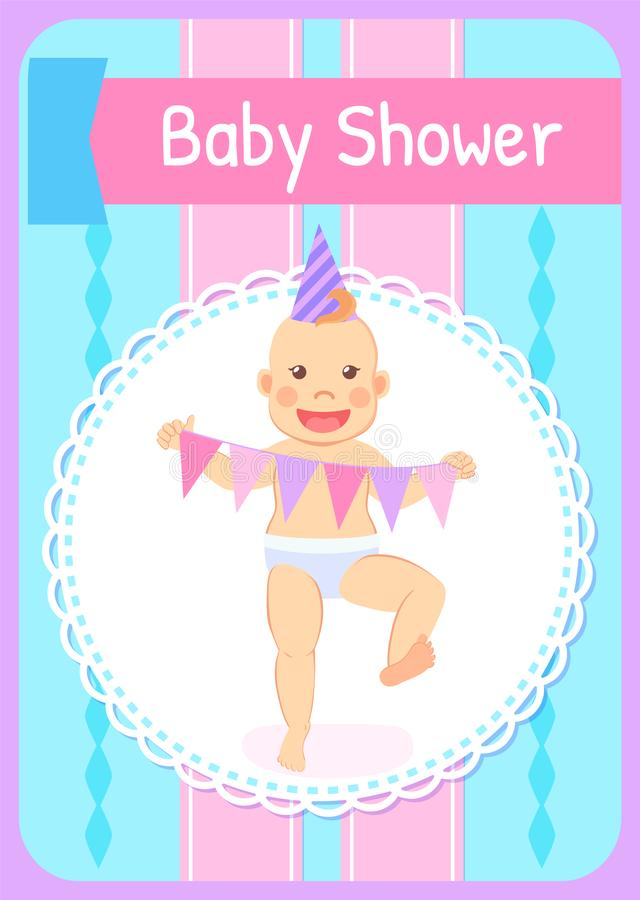 Baby Milestones Celebrate First Birthday Party. Baby shower greeting card, infant in Birthday hat, garland flags. Vecto milestones, celebrating first anniversary vector illustration