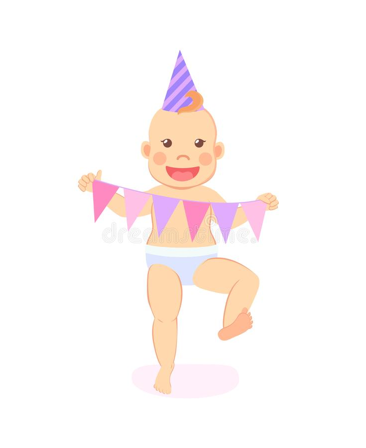Baby Milestones Celebrate First Birthday Party. Happy infant in cone hat, garland in triangle shape paper flags isolated. Vector baby milestones, celebrating royalty free illustration