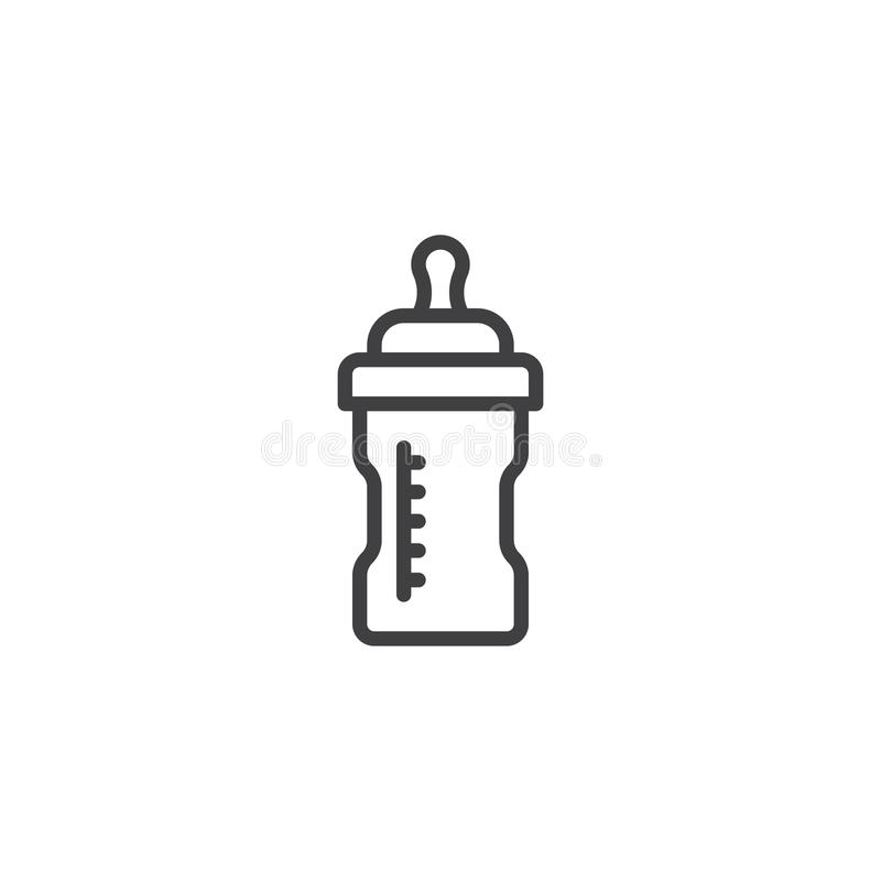 Baby milk bottle line icon. Linear style sign for mobile concept and web design. Feeding bottle outline vector icon. Symbol, logo illustration. Pixel perfect vector illustration