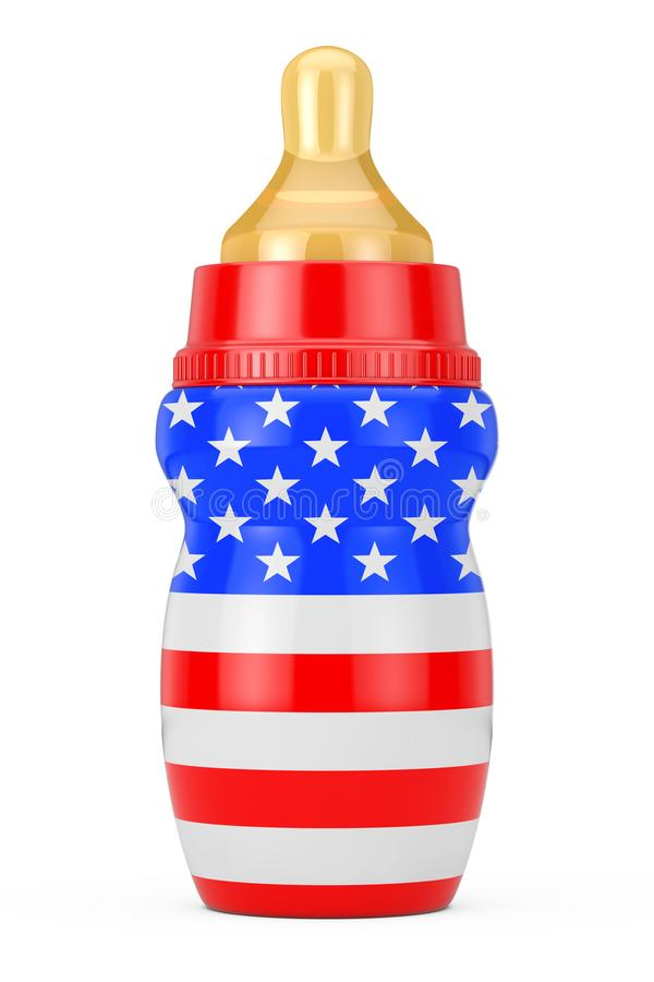 Baby Milk Bottle with Pacifier and USA Flag. 3d Rendering. Baby Milk Bottle with Pacifier and USA Flag on a white background. 3d Rendering royalty free illustration