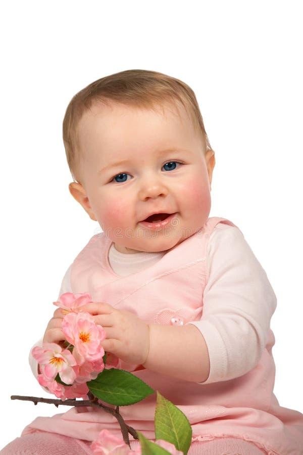 Download Baby mit Blumen stockfoto. Bild von spaß, schauen, energie - 9094080