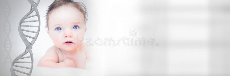 Baby mit genetischer DNA stockbild
