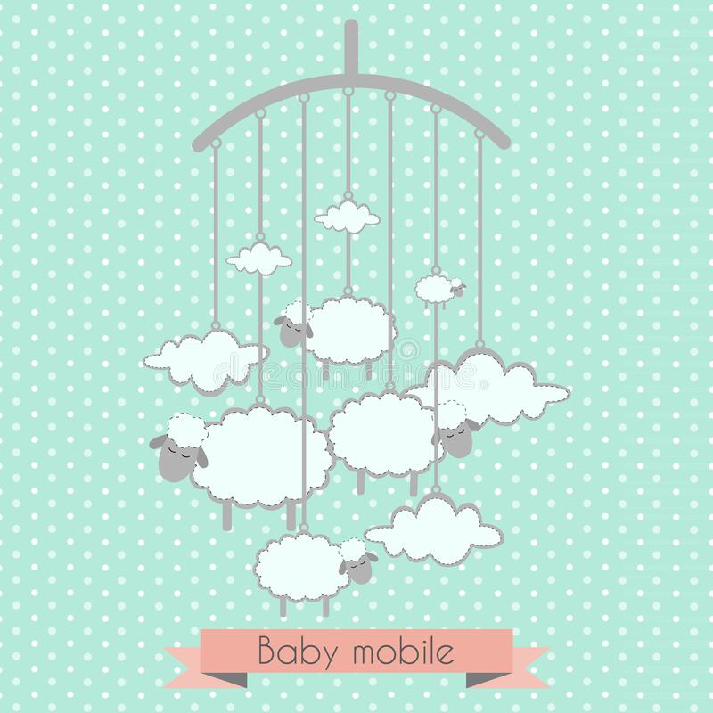 Baby Mobile With Little Lambs And Clouds Stock Vector - Illustration ...