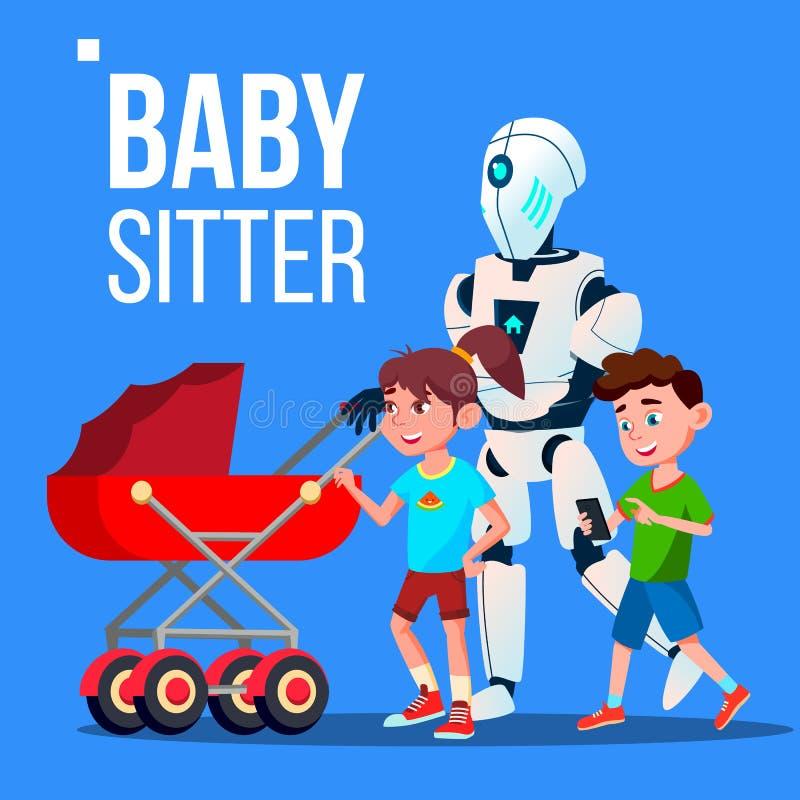 Baby-Modell-Roboter, der zum Kinderwagen-Vektor gehört Getrennte Abbildung stock abbildung