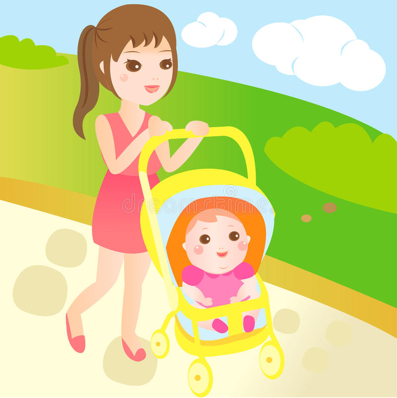 Baby and mom go for a walk stock illustration