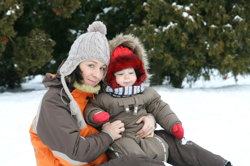 Baby And Mom On Winter Day Stock Photography