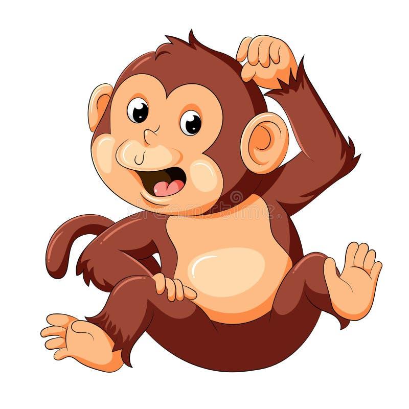 Baby monkey with good posing. Illustration of baby monkey with good posing royalty free illustration