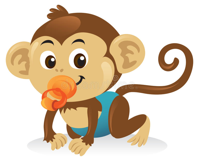 Baby Monkey With Pacifier. Adorable baby monkey cartoon illustration with pacifier in a crawling pose royalty free illustration