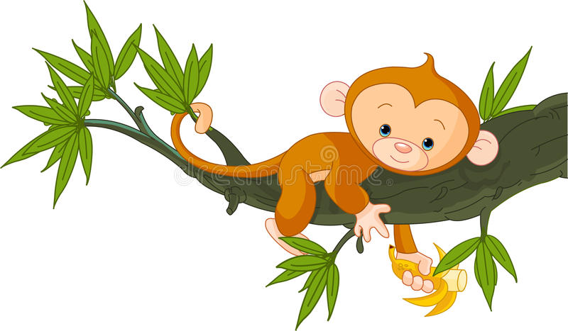Download Baby monkey on a tree stock vector. Illustration of comic - 19929674