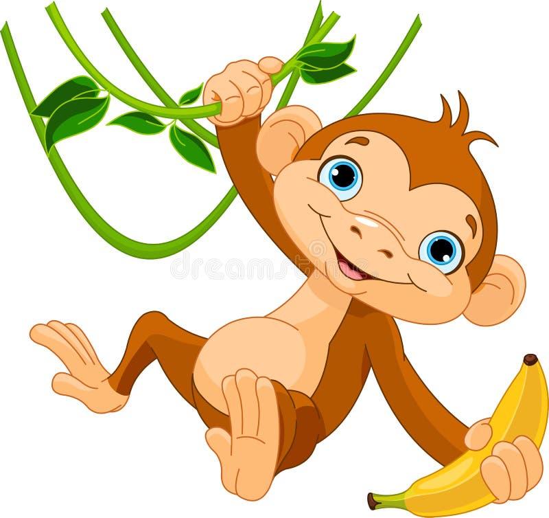 Baby monkey on a tree royalty free illustration