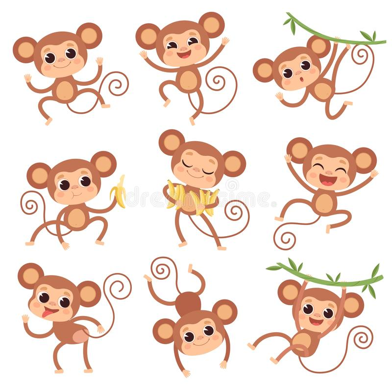 Baby monkey. Wild cartoon animals playing and eating banana vector characters of monkeys vector illustration