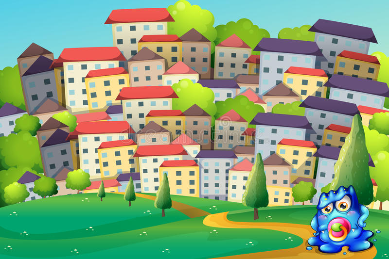 Download A baby monster in the city stock vector. Image of baby - 33449377