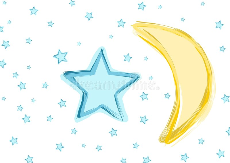 Baby Moon and stars. Fun abstract star and moon illustration. Has a hand painted/brushed look. Great for baby or nursery designs stock illustration