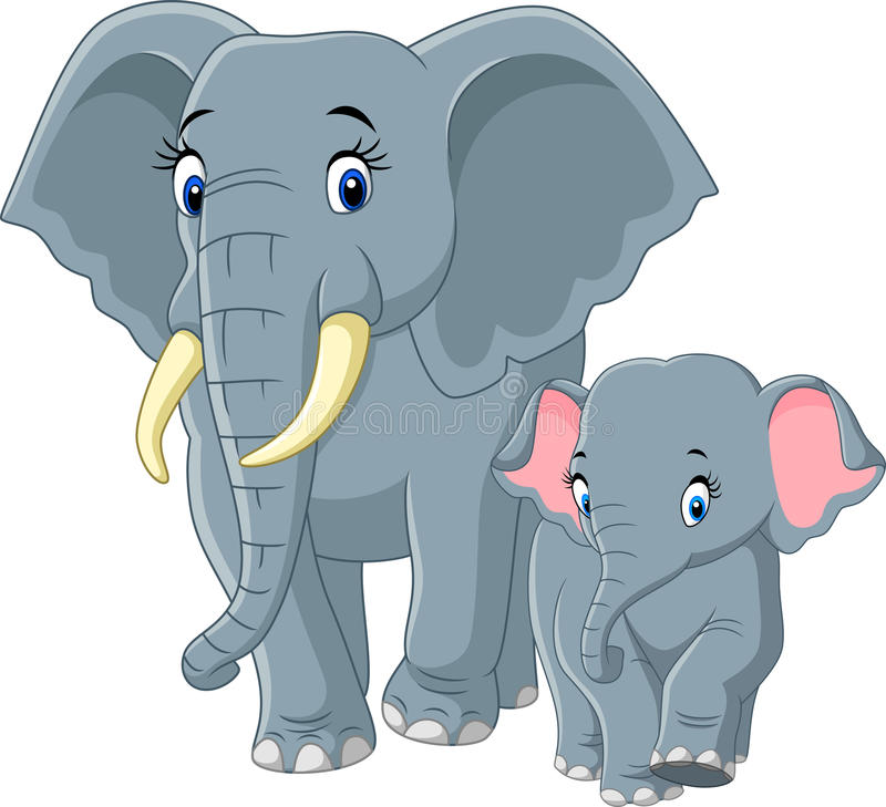 Baby and Mother Elephant stock illustration