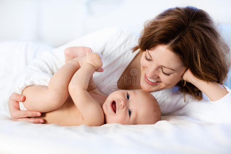 Baby and mother at home. Mom and child. royalty free stock photo