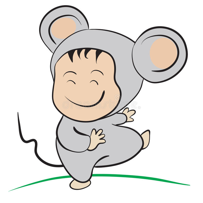Baby in Mouse Costume : done in a hand-drawn illustratio. N style stock illustration