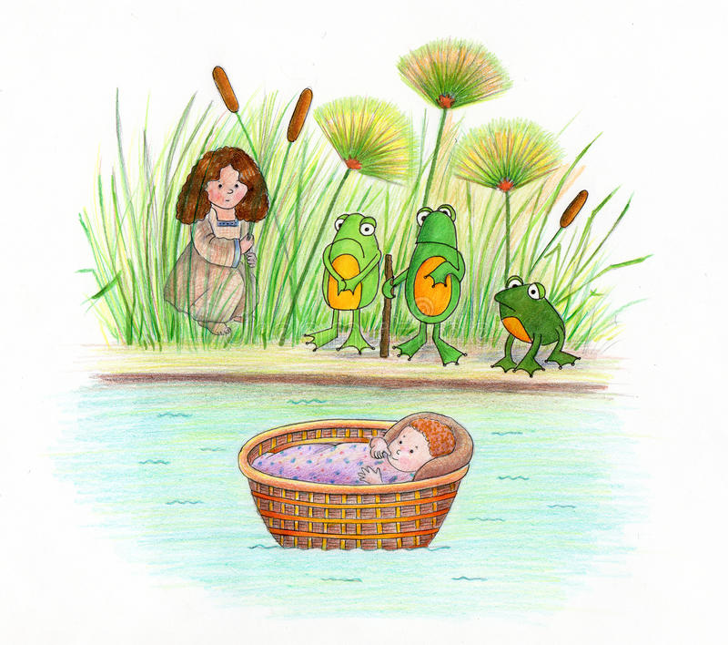 Baby Mozes en Kikkers stock illustratie