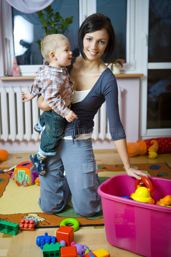 Baby with mummy during playing royalty free stock photos
