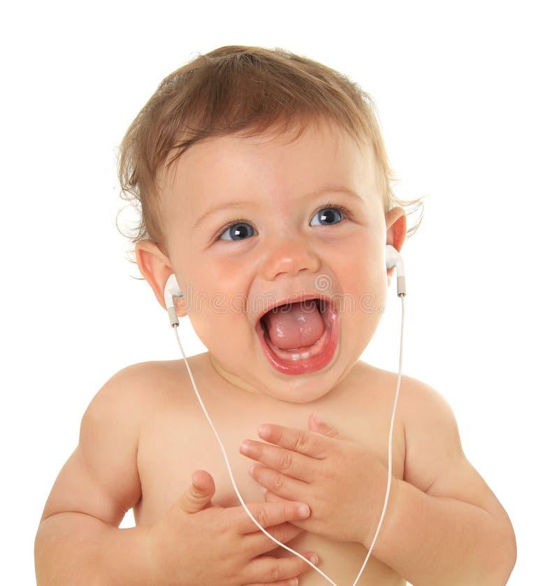 Download Baby music stock image. Image of blue, child, earphones - 28683169