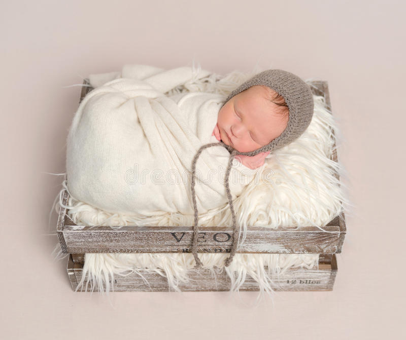 Baby napping in basket , wrapped up, topview stock photo