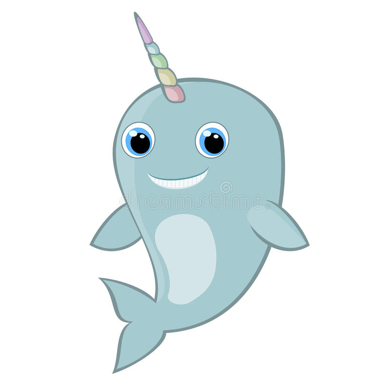 Baby narwhal with rainbow horn illustration Cute cartoon narwhal Sea mammal Sea life theme Happy boy narwhal stock illustration