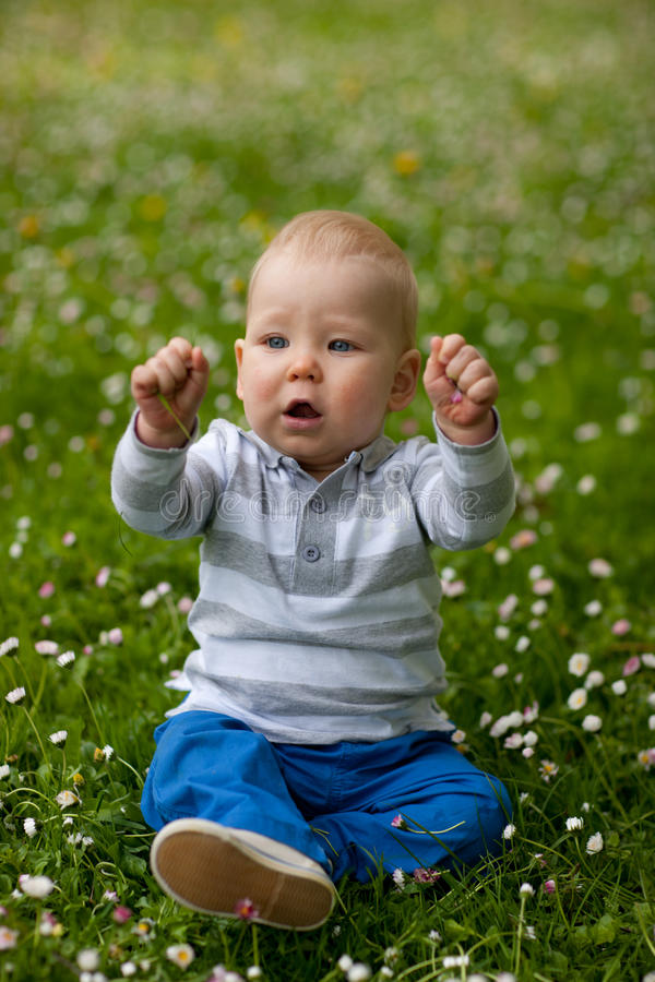 Baby in nature royalty free stock image