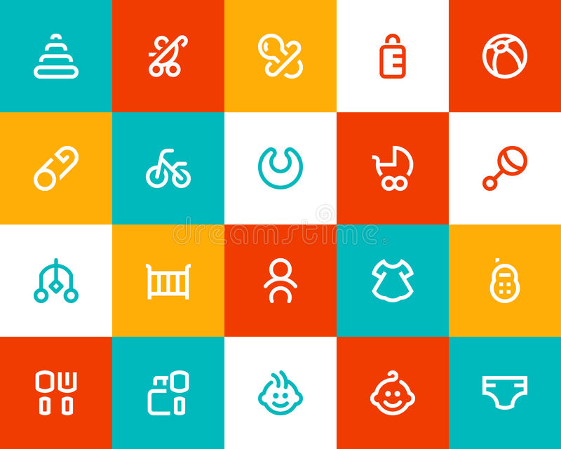 Baby and new born icons Flat style. Baby and new born icons set. Flat style stock illustration