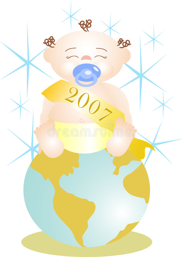 Baby New Year on world stock image