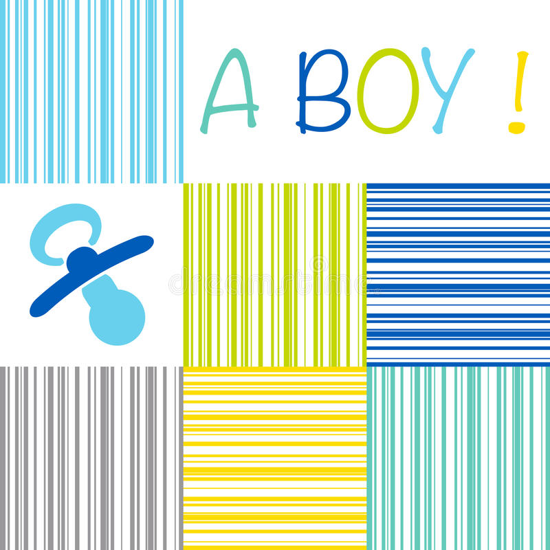 Baby newborn birth announcement card boy with a dummy on a strip stock photo