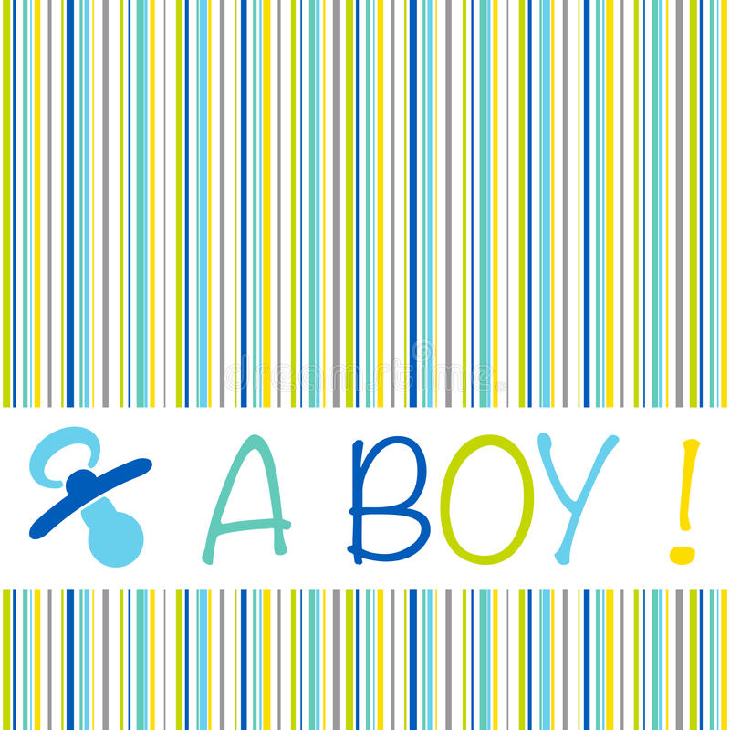Baby newborn birth announcement card boy with striped pattern an royalty free stock images
