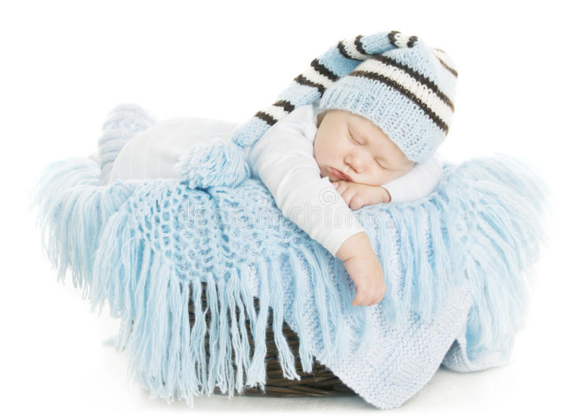 Baby Newborn Portrait, Boy Kid New Born Sleeping In Blue Hat. Child Over White Background stock photo