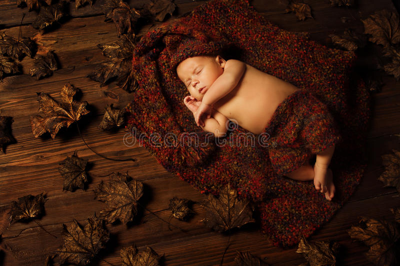 Baby newborn portrait, kid sleeping in hat. Baby newborn artistic portrait, kid sleeping in woolen hat on brown autumn fallen leaves royalty free stock images