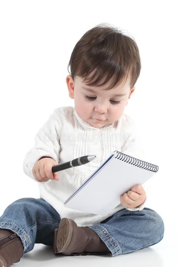Download Baby With A Notebook And A Pen Stock Image - Image: 28836259