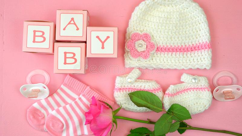Baby nursery clothing and accessories overhead. royalty free stock photography