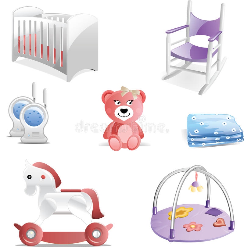 Baby Nursery Icon Set Stock Illustration Image Of Color