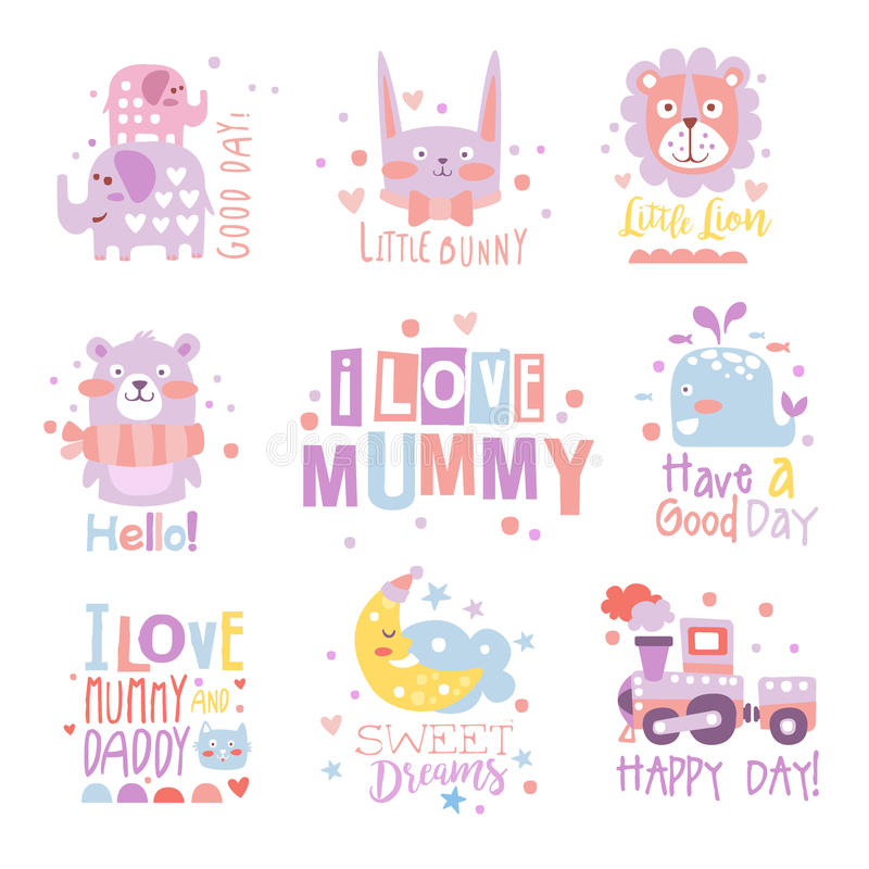 Baby Nursery Room Print Design Templates Collection In Cute Girly Manner With Text Messages. Vector Labels With Quotes Series Of Childish Posters For Toddler royalty free illustration