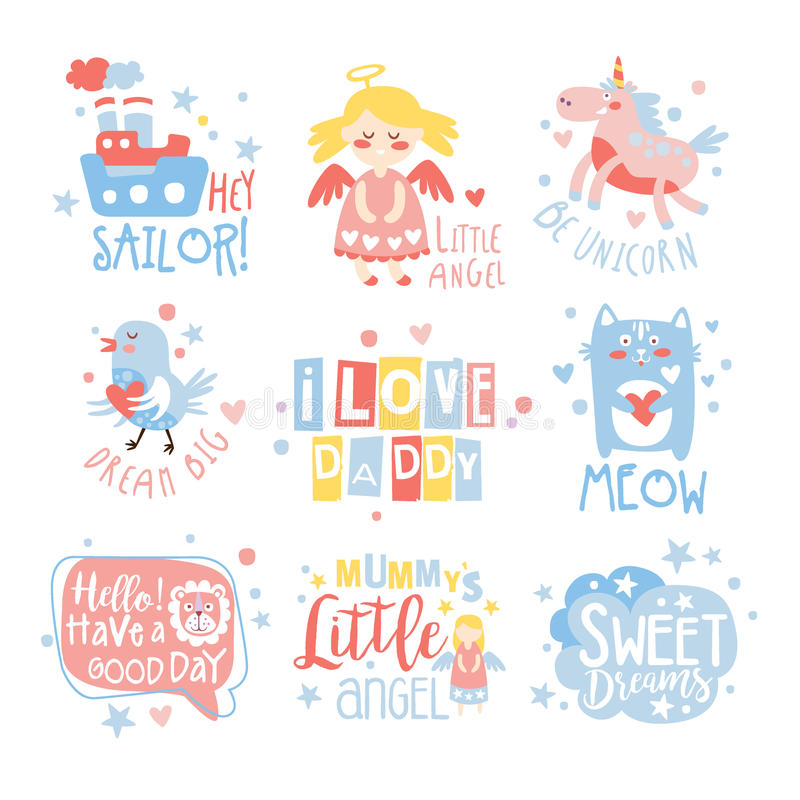 Baby Nursery Room Print Design Templates Set In Cute Girly Manner With Text Messages. Vector Labels With Quotes Series Of Childish Posters For Toddler royalty free illustration