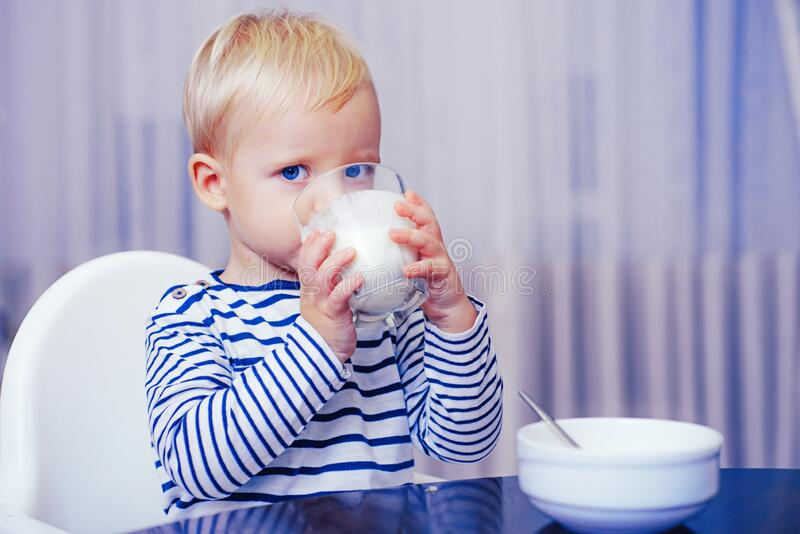 Baby nutrition. Eat healthy. Toddler having snack. Healthy nutrition. Drink milk. Child hold glass of milk. Kid cute boy. Sit at table with plate and food stock photography
