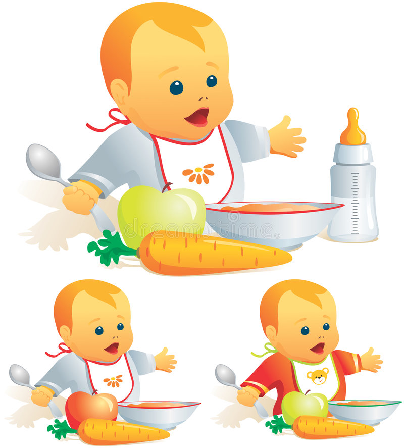 Baby nutrition, solid food, mi royalty free illustration