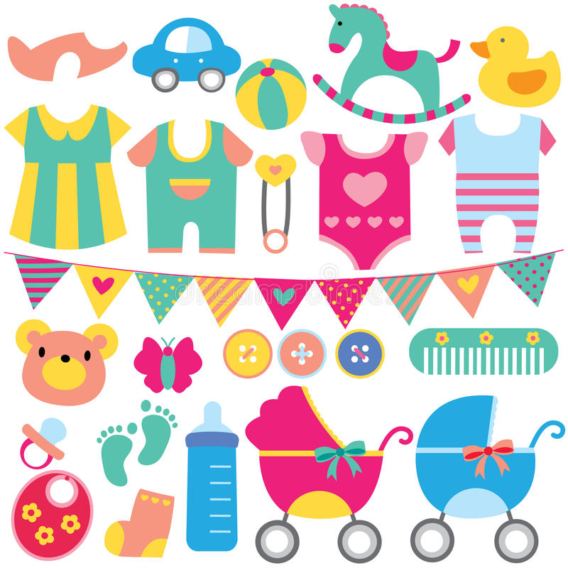 Baby objects clip art set royalty free illustration