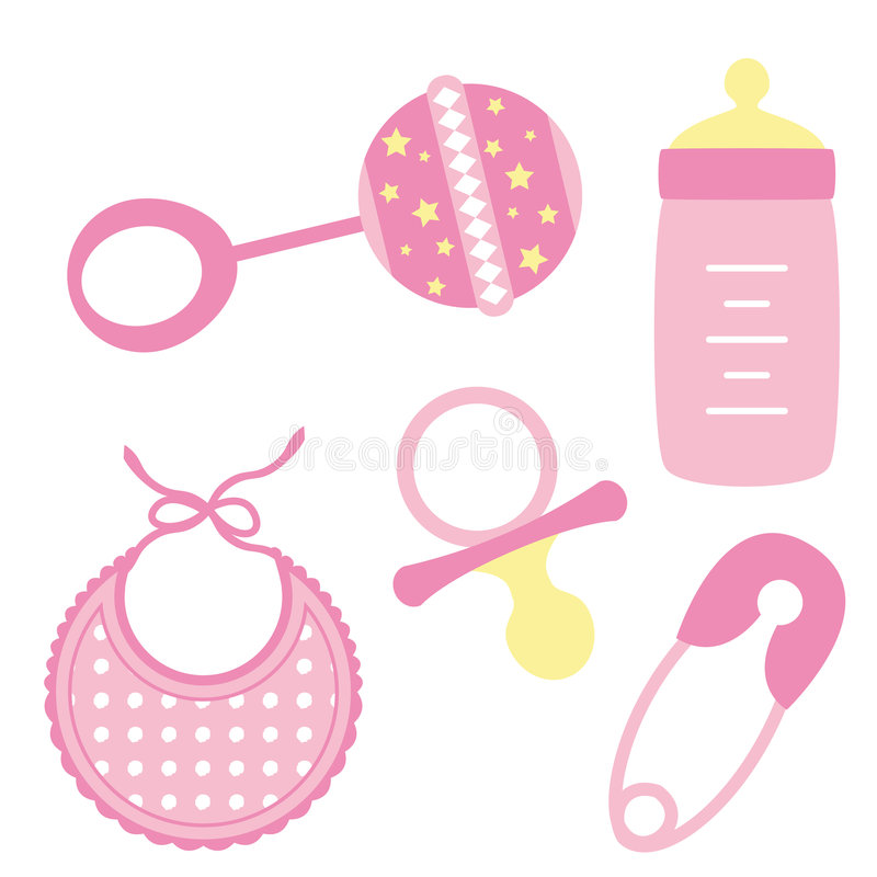 Baby objects Girl royalty free illustration