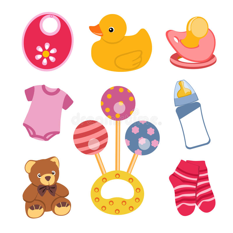 Download Baby objects stock vector. Image of pacifier, nipple - 30430211
