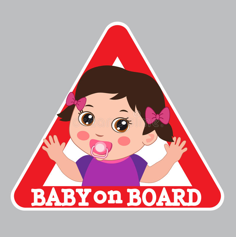 Free Baby On Board Sign. Car Warning Sign. Girl On Board Sticker. Royalty Free Stock Photo - 77467455