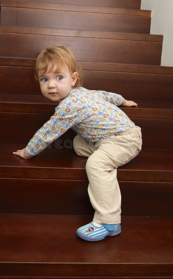 Free Baby On Stairs Stock Image - 3860241